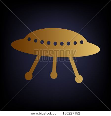 UFO simple icon. Golden style icon on dark blue background.