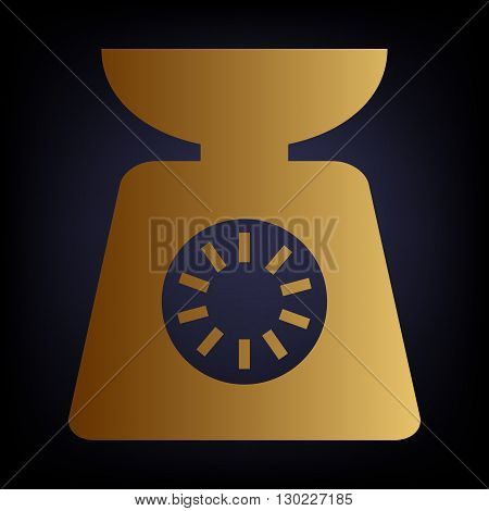 Kitchen scales icon. Golden style icon on dark blue background.