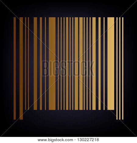 Bar code icon. Golden style icon on dark blue background.