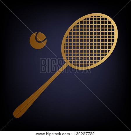 Tennis racquet icon. Golden style icon on dark blue background.