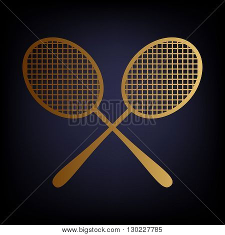 Tennis racquets icon. Golden style icon on dark blue background.