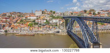 Bridge Ponte Luis I and skyline of Porto Portugal