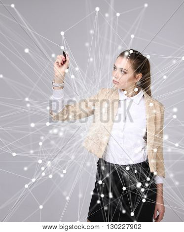 Worldwide network or wireless internet connection futuristic concept. Woman working with linked dots.