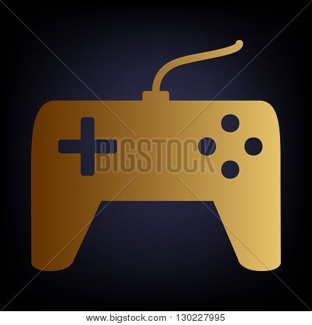 Joystick simple icon. Golden style icon on dark blue background.