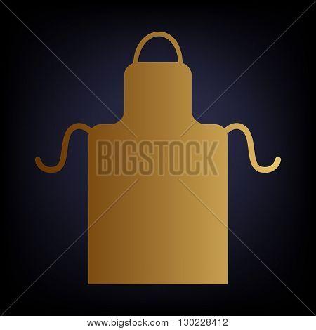 Apron simple icon. Golden style icon on dark blue background.