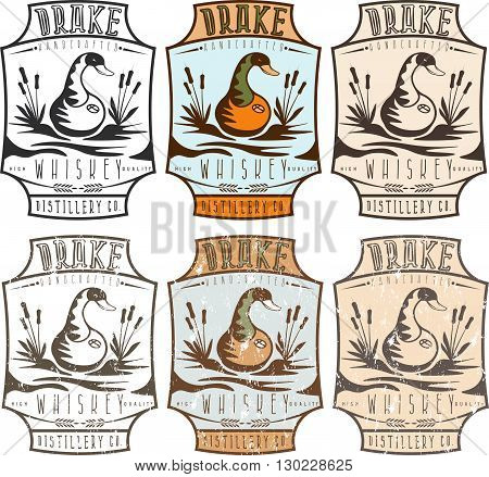 Whiskey Labels With Copper Whiskey Still In A Form Of  Duck