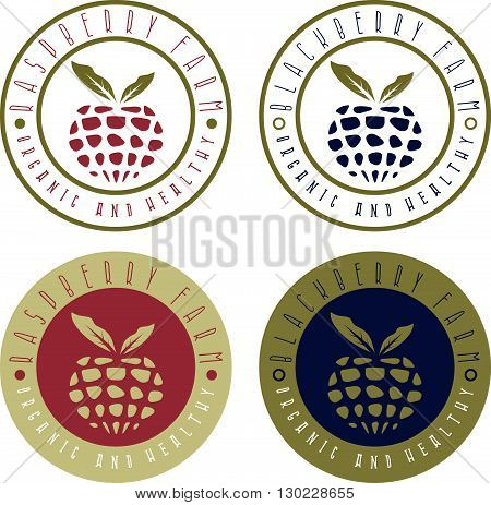 Vintage Vector Labels Set Of Raspberry And Blackberry Farm