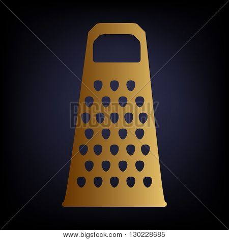Cheese grater icon. Golden style icon on dark blue background.