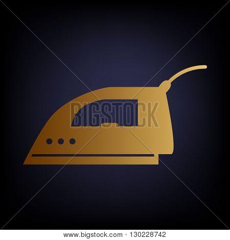Smoothing, Iron icon. Golden style icon on dark blue background.