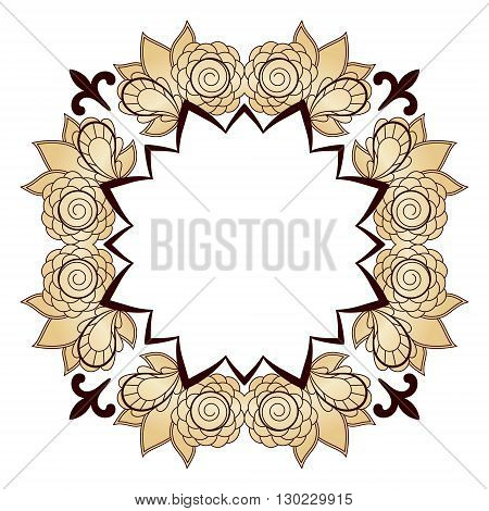 Bright abstract pattern with space for text, a wreath of roses. Vector design template for art.