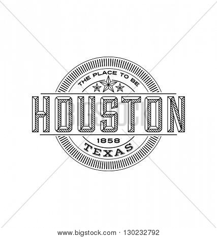 houston, texas  linear emblem design for t shirts and stickers