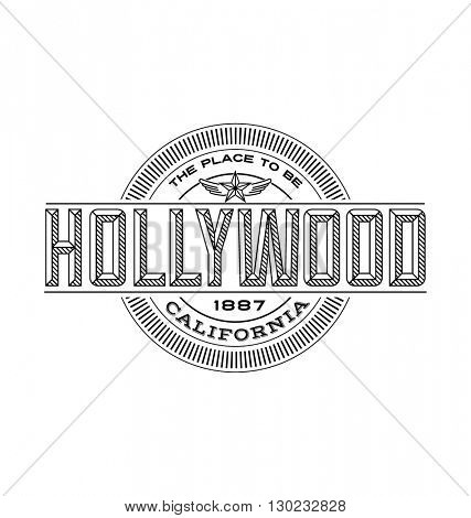 hollywood, california linear emblem design for t shirts and stickers