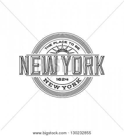 new york city, new york  linear emblem design for t shirts and stickers