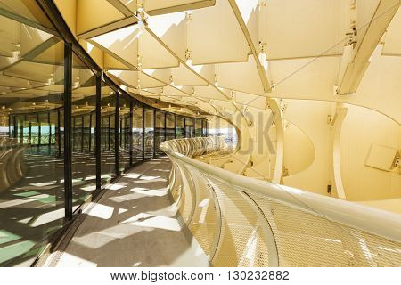 Seville, Spain - May 1, 2016: view along the footpath winding around  Metropol Parasol, a wooden structure used as a lookout over the city, designed by architect Juergen Mayer H.