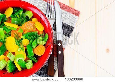 Steamed Vegetables Potatoes, Carrots, Cauliflower, Broccoli Studio Photo