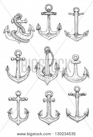 Vintage sailing ships admiralty anchors old fashioned engraving sketch icons entwined by ropes. Maybe use as yacht club symbol or nautical heraldic design