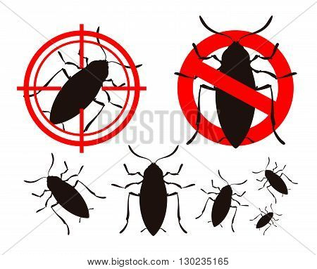 pest control. cockroach icon set. vector illustration