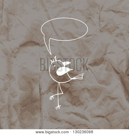 Cute bird in the hand-drawn style on a kraft paper background. Vector illustration.