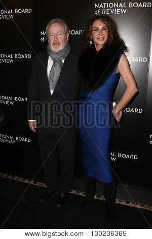 NEW YORK-JAN 5: Director Ridley Scott (L) and prodcuer Giannina Facio attend the 2015 National Board of Review Gala at Cipriani 42nd Street on January 5, 2016 in New York City.