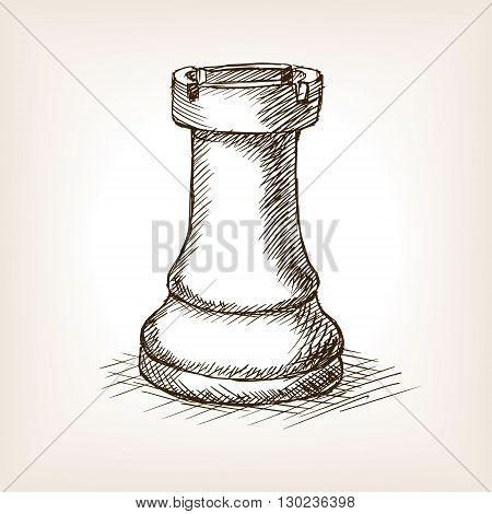Rook chess piece sketch style vector illustration. Old engraving imitation.