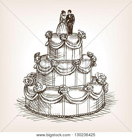 Wedding cake sketch style vector illustration. Old engraving imitation.
