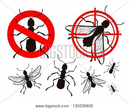 pest control, ant icons set. vector illustration