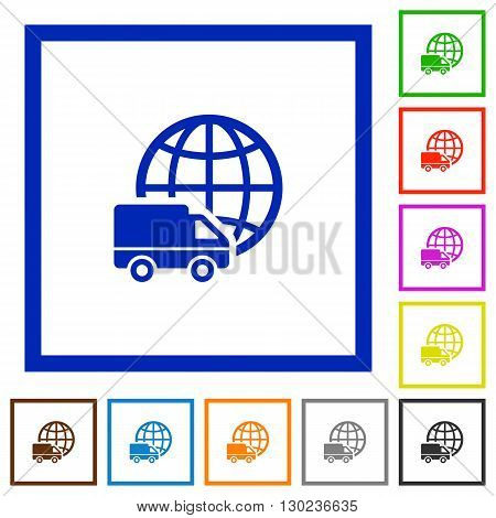 Set of color square framed International transport flat icons on white background