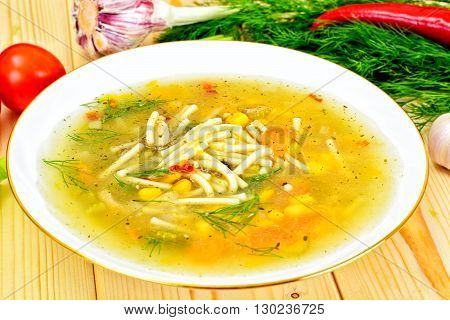 Soup with Chicken Broth with Noodles and Vegetables Studio Photo