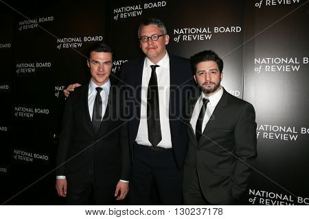 NEW YORK-JAN 5: (L-R) Finn Wittrock, Adam McKay and John Magaro attend the 2015 National Board of Review Gala at Cipriani 42nd Street on January 5, 2016 in New York City.