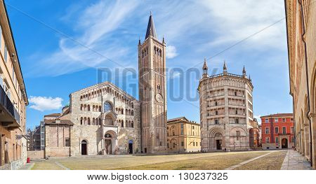 Panorama of Piazza Duomo with Cathedral and Baptistery Parma Emilia-Romagna Italy