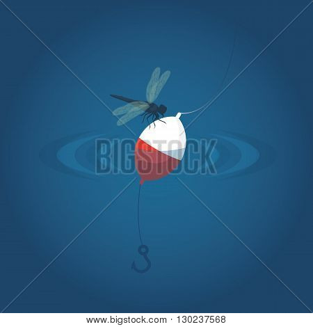 dragonfly to float in the water with a hook. Fishing vector illustration background.