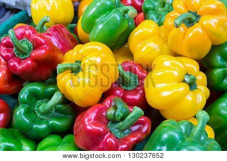 Colorful bell peppers ready for sales in fresh market Bangkok Thailand