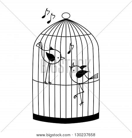 Two birds in a cage chirping. Black and white vector illustration.