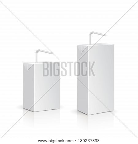 Set of blank milk or juice boxes with straws .