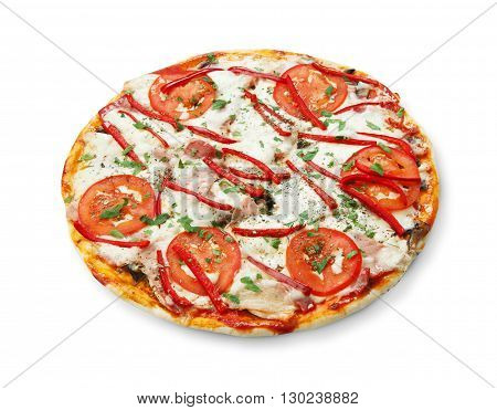 Delicious pizza with mushrooms, peppers and ham - thin pastry crust isolated at white background. Italian food. Top view