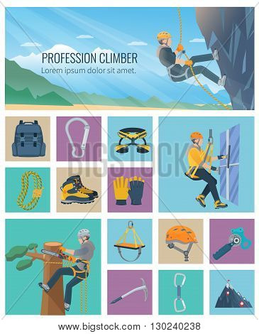 Set of color flat icons about industrial profession climber and climbing equipment vector illustration