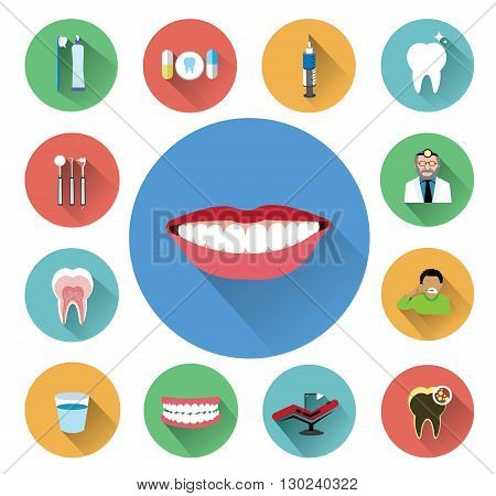 Modern flat dental icons set with long shadow effect