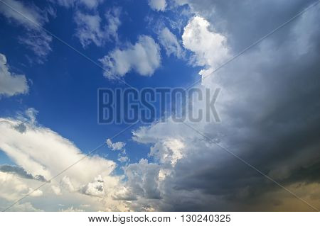 Beautiful rain clouds. beautiful cloudy sky. Deep blue sky
