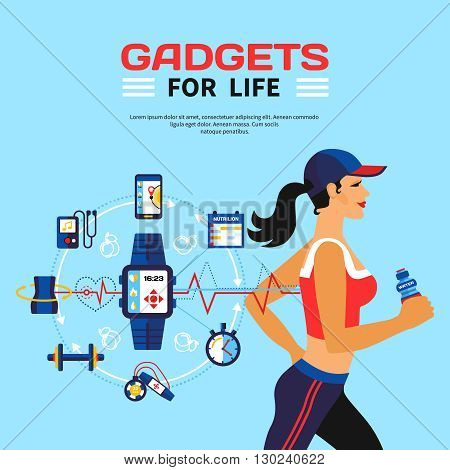 Flat vector illustration of running girl and set of gadgets used smart technology for monitoring calorie consumption during fitness activities