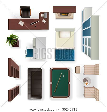 Modern interior furniture for office living and bedroom isolated realistic objects set top view  isolated vector illustration