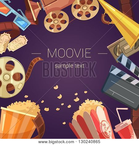 Movie cartoon background with camera tickets videocassette and popcorn vector illustration