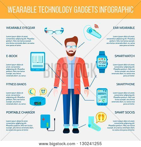 Wearable Gadgets Infographic Set. Wearable Gadgets Information.Wearable Gadgets Flat Set. Wearable Gadgets Vector Illustration.