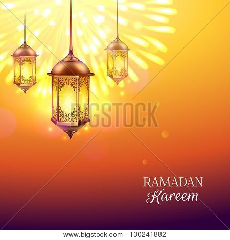 Ramadan colored poster with burning lights on background golden lamp and title Ramadan kareen vector illustration