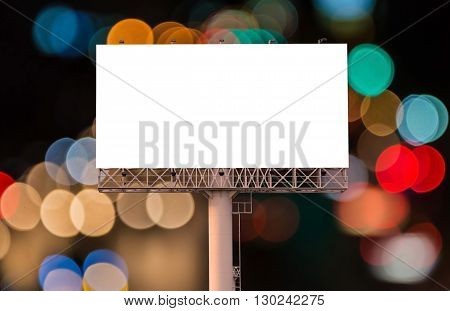 Blank Billboard For Advertisement On Night Time With Bokeh Background