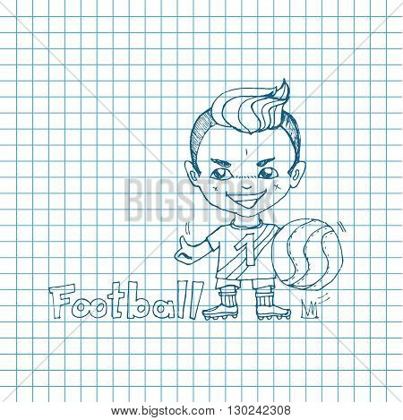 Vector sketch boy football-player in chibi style