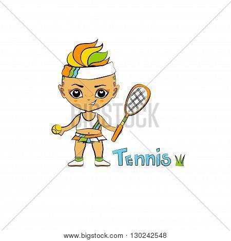 Vector cartoon girl tennis-player in chibi style