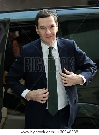 LONDON, UK - NOVEMBER 22, 2015: George Osborne MP attends the BBC Andrew Marr Show at the BBC broadcasting house in London