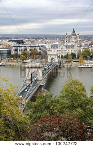 Hungary, view  on the Budapest city, Szechenyi Chain Bridge and Danube River in autumn
