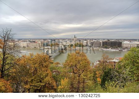 Hungary view on the Budapest city Szechenyi Chain Bridge and Danube River in autumn