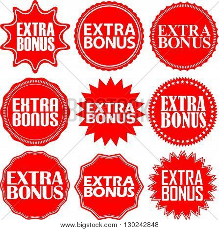 Extra Bonus Red Label. Extra Bonus Red Sign. Extra Bonus Red Banner. Vector Illustration